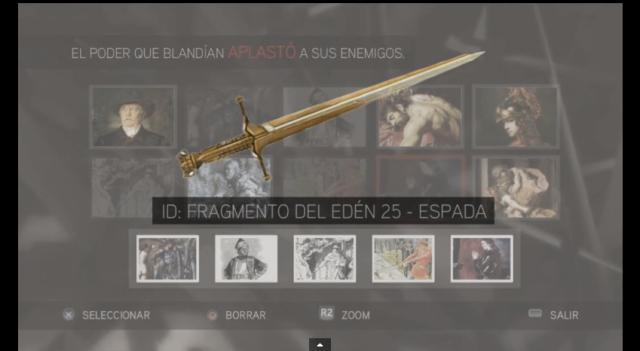 Assassin´s Creed II solución glifo 5 El poder que blandían aplastó a sus enemigos Espada