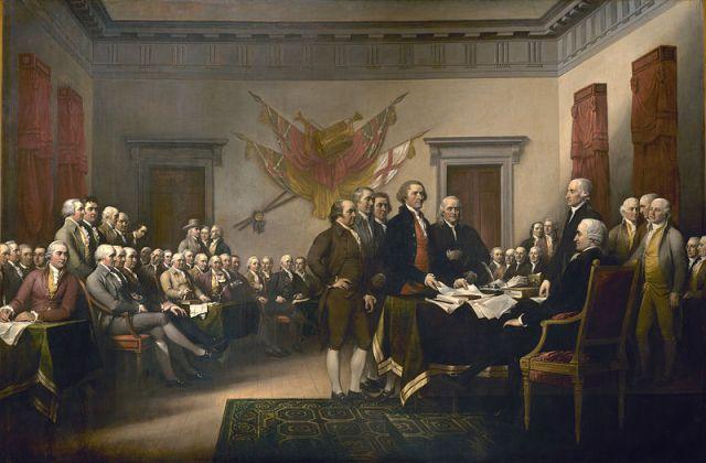 Cuadro del pintor estadounidense John Trumbull. Se encuentra en la rotonda del capitolio de los Estados Unidos (Washington D.C.) y representa la presentación al Congreso del documento que establecía la Declaración de Independencia de los Estados Unidos.