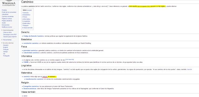 canónico wiki