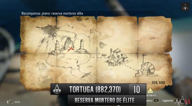Assassin´s Creed IV mapa en Tortuga Reserva Mortero de élite