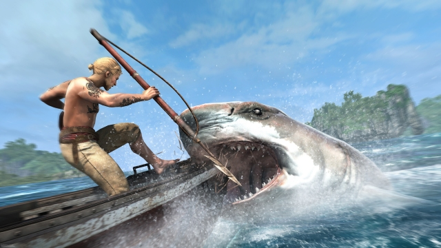 Edward Kenway-caribbean-sea-harpooning-shark-attack