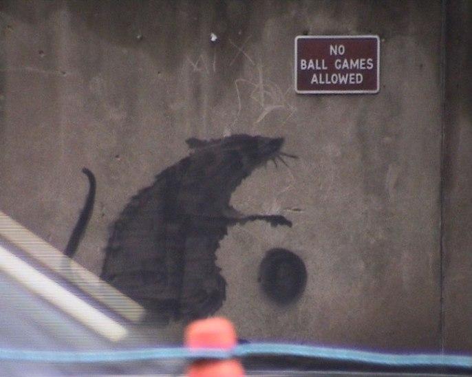 rat ball banksy art street wall london grafitti